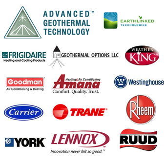 We service Carrier, Trane, Goodman, Rheem, Advanced Geothermal Technologies, Earthlinked Technologies and many other systems.